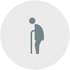 Icon of old stick figure person with cane